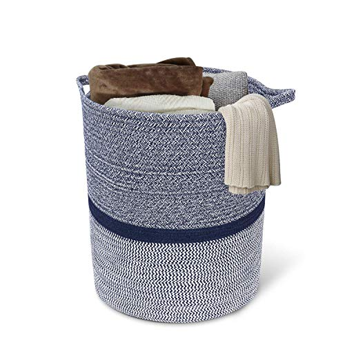 INDRESSME Large Cotton Rope Storage Basket Baby Laundry Basket Woven Baskets Blanket Basket with Handle for Diaper Toy Off White Home Decor 14.2'' x 13.4'' x 16.2'' , Navy