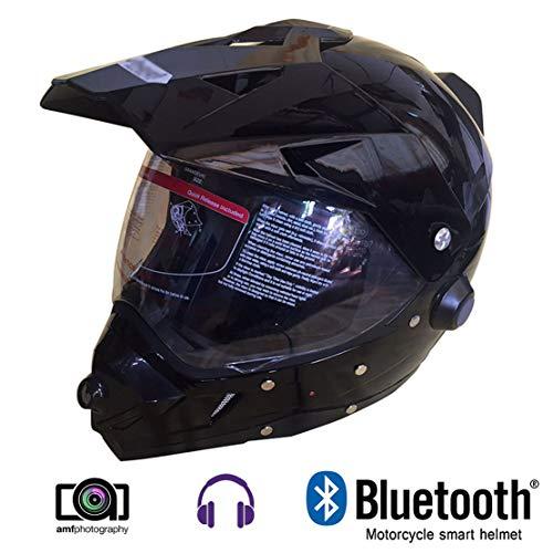 Wansheng Motocicleta Casco Inteligente,Casco De La Cámara De Motocross con Música Bluetooth/Registro De Conducción/Vídeo Grabable,Adecuado para Los Entusiastas De Los Deportes Extremos