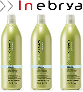 3x Balance Shampoo Seboregolatore - Per Cute e Capelli Grassi - 1000 ml - Inebrya Ice Cream