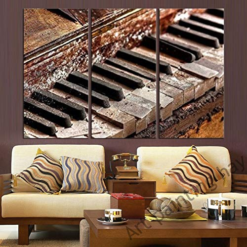 TBDZPS 3 Panel Dekoration Modulare Bild Auf Leinwand Wandkunst Home Moderne Musik Klavier Wohnzimmer Hd Gedruckt Poster Malerei