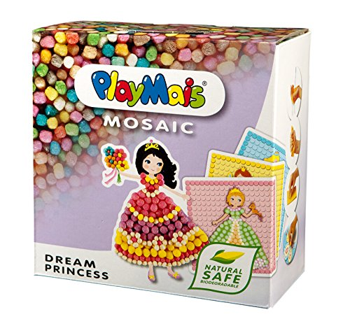 PlayMais Mosaic Dream Princess Kit per Costruzioni da 3 Anni in su I Circa 2300 Pezzi e 6 Modelli di Mosaico con Principesse I stimola creatività e abilità motorie I Giocattolo Naturale