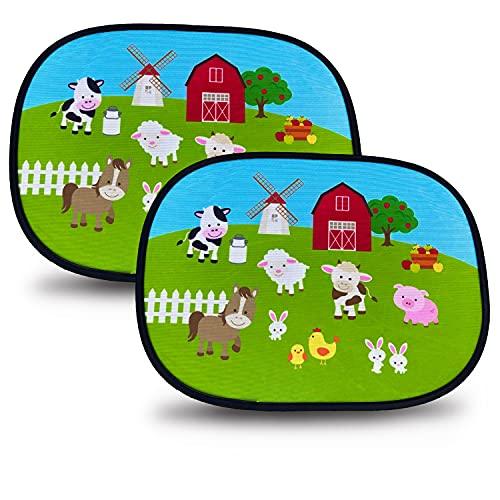 HECKBO Parasol Autoadhesivo para Coche - protección Solar para niños (2 Piezas) | Granja con animales | 44x36cm | protección solar para ventanillas de coche | con Bolsa Incl