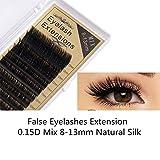 Frenshion 3D Handmade False Eyelashes Extensión de pestañas de injerto, 0.15D Mix 8-13mm Natural Silk Set Pestañas profesionales falsas, suaves y cómodas, vívidas, brillantes, duraderas y perfectas