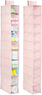 mDesign Soft Fabric Over Closet Rod Hanging Storage Organizer with 10 Shelves for Baby Room or Nursery - Tiered Hanging Organizers - Polka Dot Print - 2 Pack - Pink with White Dots
