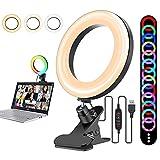 MILFECH Video Konferenz-Beleuchtungsset mit Clip, 6 RGB Videokonferenz Licht 3 Dimmbares Ringlicht Laptop für Fernarbeit/Fernunterricht/Videokonferenzen/Live-Streaming/Nachttischbeleuchtung