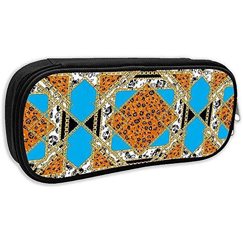 Pen Bag Pouch Cheetah Leopard Goldkette Schwarz Weiß Orange Bleistiftetui Stationäres Etui Make-Up Kosmetiktasche