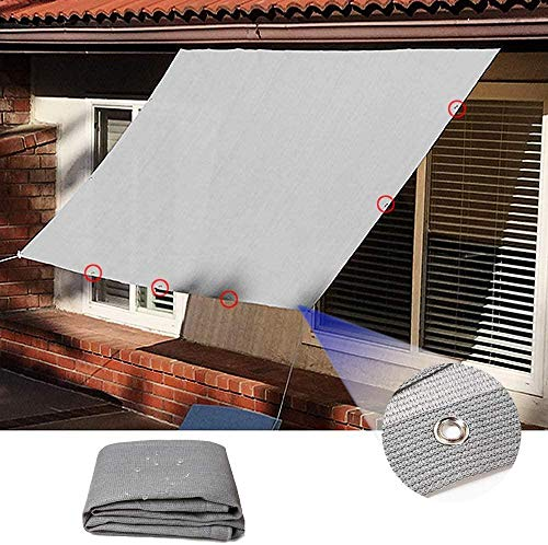 Freestyle Shade Balcon Protection Net - Respirant 95% UV Ray Protection - Solar Canvas Shade Veil for Outdoor Terrace Garden Pergola-L3 x L5-m_Gris 0714