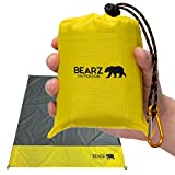 BEARZ Outdoor Beach Blanket, Waterproof Picnic Blanket 55″x60″ - Lightweight Camping Tarp, Compact Pocket Blanket, Festival Gear, Sand Proof Mat for Travel, Hiking, Sports - Packable w/Bag (Yellow)