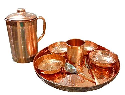 asiacraft Indian vajilla cobre puro tradicional cena set de Thali placa, cuencos, jarra, cristal y cuchara, diámetro 12inch–Diwali Regalos para las empresas
