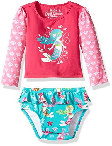 Hatley Baby Girls' Rash Guard Set, Sweet Mermaid, 9-12M