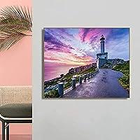 アートポスター60x80cmフレームなしマウンテン灯台紫の空の壁アートポスター印刷リビングルームの家の装飾のための装飾的な写真