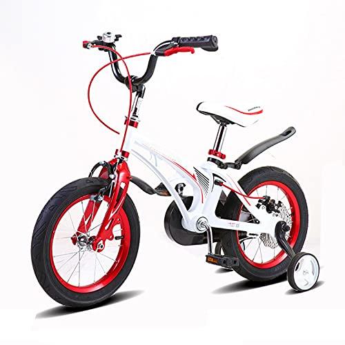 Kids Bikes Chunlan 14 Pulgadas Bicicleta para Niños Marco De Aleación De Magnesio Reno Sensible con Ruedas De Entrenamiento/Bells/Disc Frenos por 4-7 Años De Edad Niño Y Niña(Color:Blanco)