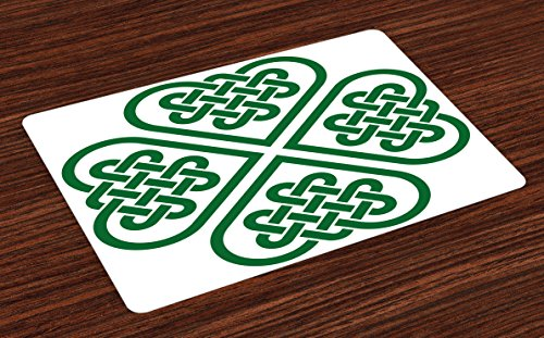 Ambesonne Celtic Place Mats Set of 4, Monochrome 4 Leaf Clover Flower Shaped Timeless Celtic Form Gaelic, Washable Fabric Placemats for Dining Table, Standard Size, White Green