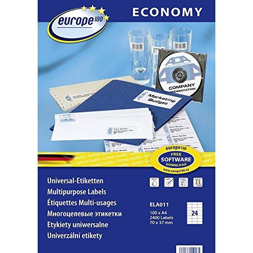 europe100 ELA011 Universal Etiketten A4 (70x37,1 mm, 2400 Etiketten auf 100 Blatt, selbstklebend, 3474) weiß