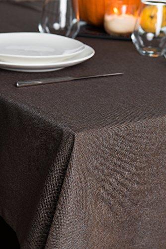 Rollmayer abwaschbar Tischdecke Wasserabweisend/Lotuseffekt (Melange Braun 17S, 150x280cm) Leinenoptik Tischtuch mit pflegeleicht Fleckschutz, Rechteckig, Farbe & Größe wählbar