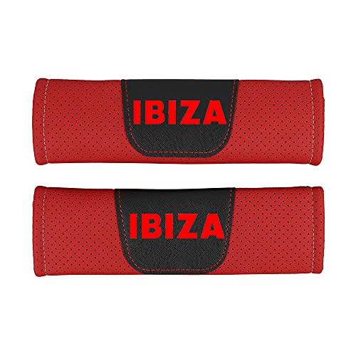 Guaisi 2 Piezas Coche Almohadillas CinturóN De Seguridad para Seat Ibiza, Cuero de la PU Seat Belt Padding Shoulder Protectora Pad, Auto Accesorios
