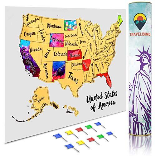 Travelisimo Rubbelkarte der Vereinigten Staaten, 30,5 x 43,2 cm, Aquarell-Poster für Roadtrip, USA Reisezubehör, 10 Flaggen enthalten für die nächsten besuchten Staaten