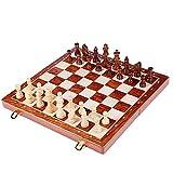 Conjunto de ajedrez clásico Juegos de rompecabezas de ajedrez-Tabla de nogal juegos de ajedrez de madera plegable del tablero de ajedrez gratuito Primeros pasos Juego de mesa Juego para adultos y niño