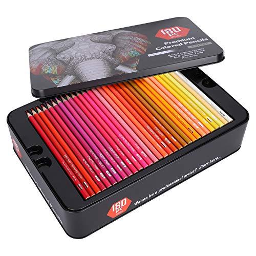 Lápices de colores artísticos, 180 lápices de colores a granel, para adultos y niños, para libros de imágenes para adultos y niños