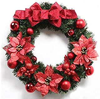 Christmas Party Christmas Wreath Door Hanging Ornaments Room Christmas Tree Pendants for Decoration(Red)