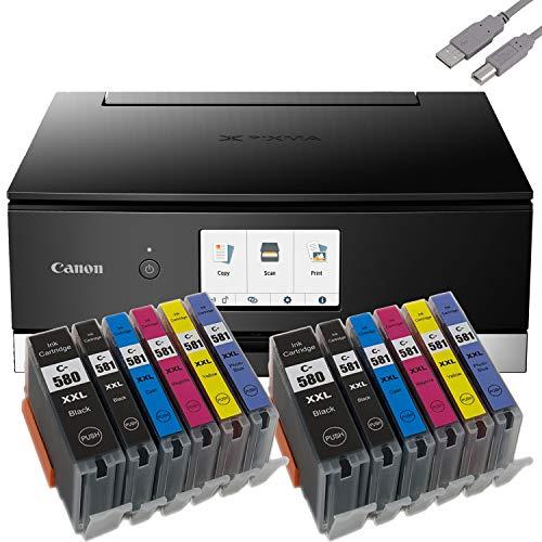 Bundle Canon PIXMA TS8350 Tintenstrahldrucker Multifunktionsgerät (Drucker, Scanner, Kopierer) mit 12 komp. Youprint® Tintenpatronen für PGI-580/CLI-581 XXL