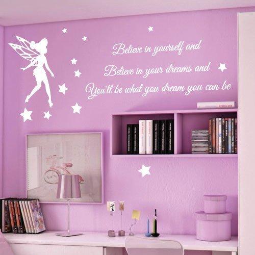 wall sticker studio Wandtattoo, Tinkerbell Sterne, für Kinderzimmer, Adidas Sportschuhe mit Stollen, Large