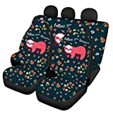 WELLFLYHOM Girly Floral Red Sloth Design Car Seat Covers Full Set for Women 4 Pack Bucket Seat Covers Durable Universal Fit Most Car, Truck, SUV, or Van Auto Interior Accessories