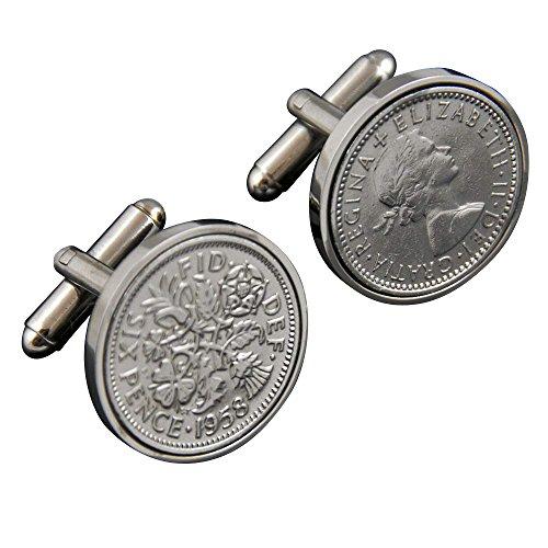Cadeau d'anniversaire 80 -1936 Sixpence cufflinks- Idéal 80e gift-100% satisfaction garantie