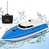 10KM/H Mini Speed Boat Toys Outdoor Adventure Elettrico 4 canali per Bambini, Barche da Corsa telecomandate per Piscine e laghi, Barca RC