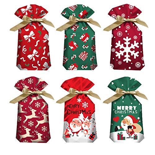 sfesnid 48 pz Sacchetti Regalo di Natale, Renna Rossa Natalizia Regalo Confezione con Coulisse Caramelle Sacchetti Confetti Alimentari Borsa di Regalo Sacchetto Bustine Biscotto 23 x 15 cm