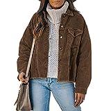 FeMereina Chaqueta de pana suelta con botones para mujer, cuello de vuelta, color sólido, vendimia, manga larga, ropa exterior con bolsillo, café, XL