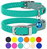 CollarDirect Leather Cat Collar, Cat Safety Collar with Elastic Strap, Kitten Collar for Cat with Bell Black Blue Red Orange Lime Green (Neck Fit 6'-7', Mint Green)