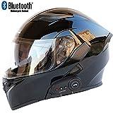 Casque De Moto Intégral Bluetooth avec Deux Haut-Parleurs FM, Casque De Moto Flip Certifié Dot, Conception Anti-Buée À Double Lentille, Conception Respirante(57-64 Cm),B,L