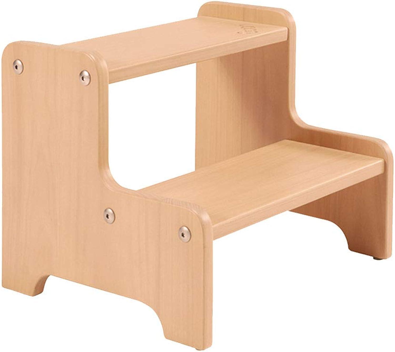 Ladder Step Stool, 2 Steps Solid Wood Pedal Multi-Functional Storage Rounded Corner Household Ascend Footrest