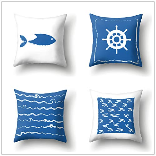 COLORPAPA Deko-Kissenbezüge, Meeresmotiv, Blau und Weiß, Wellen-Streifen, Kissenbezüge für Bett, Sofa und Auto, 4 Stück