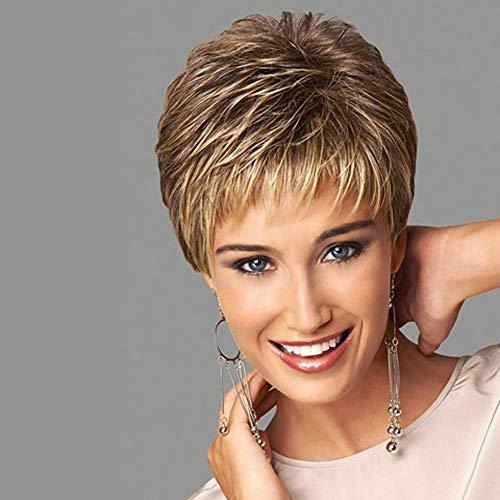 Frauen Natürlich kurze Perücke Silber, aus Menschliche Haare Damen Echthaarperücken Synthetisches Haar