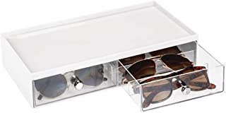 mDesign Wide Stackable Plastic Eye Glass Storage Organizer Box Holder for Sunglasses, Reading Glasses, Accessories - 2 Div...