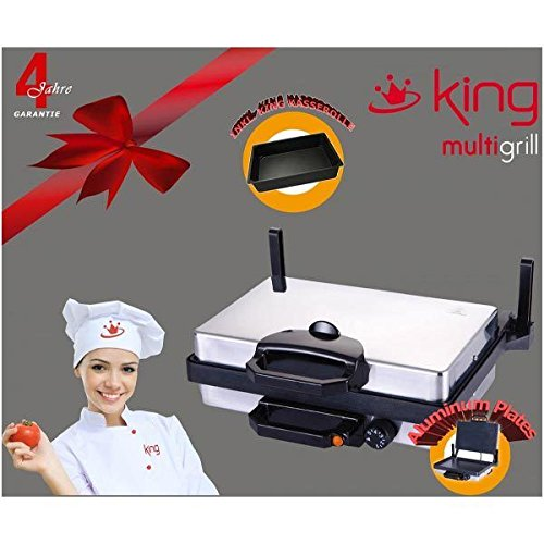KING Kontaktgrill Grill Tischgrill Elektrogrill Sandwich Toaster Tandur Lahmacun Granitbeschichtung Alubeschichtung Kasserolle Gratis 2000W (Granitbeschichtung)