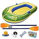 Nedyet Kayak inflable, barco portátil, barco hinchable, toldo, tienda de barco de goma, bote de remo incluido, bomba, canoa hinchable para 2 personas, alta estabilidad en el agua