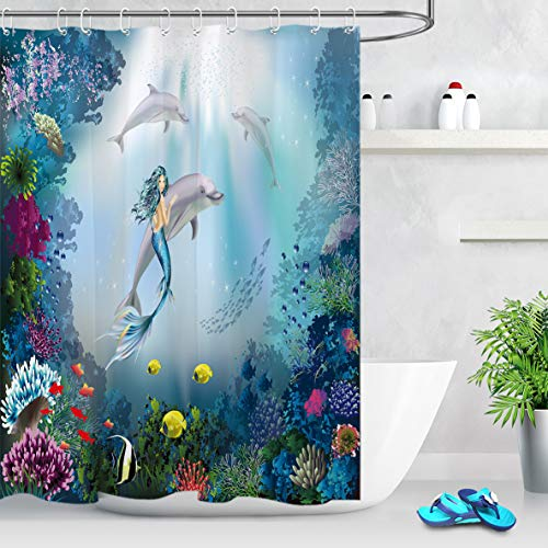 LB Mermaid Held Dolphin Shower Curtain for Kids,Colorful Sea Creatures Goldfishes Polyps Algae Under The Sea Shower Curtain 72x72 Inch Waterproof Fabric with 12 Hooks