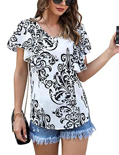 Irevial Blusa Donna Estiva Maglietta Donna Manica Corta Elegante t Shirt Donna Scollo v con Stampa Top Sciolto Casual