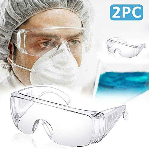 Safety Goggles Transparent Goggles with Vented Side Shields Clear Eyewear Impact Resistant Anti-Dust Lens Against Liquid Splash Safety Glasses for Lab, Chemical, Workplace, Outdoor (Same day shipping)