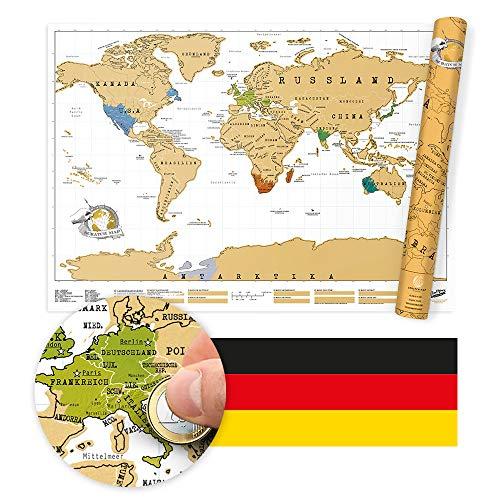 Scratch Map - das Original Deutsche - Weltkarte zum Rubbeln, Rubbel-Weltkarte - ca. 83 x 60cm - ideal für Globetrotter, Backpacker und Entdecker - tolle Geschenkidee - goldene Folie