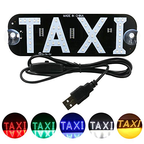 YSY White LED Sign Decor, Taxi Flashing Hook on Car Window with DC12V Car Charger Inverter Taxi Light Lamp (White, USB Switch)