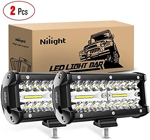Nilight Focos LED,2pcs 120W 6.5inch Spot & Flood Combo Bar LED Faros de Trabajo LED 12V-24V, Luz antiniebla para Tractores,Camiones Todo Terreno, Pickup, ATV, SUV, Barco, Off-Road…