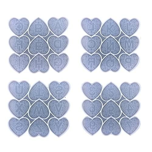Moldeado y fundición, Amor en forma de corazón de la letra del molde de silicona DIY teléfono móvil llavero espejo creativo colgante hecho a mano cristal epoxi molde