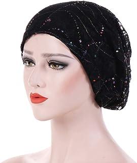 shengyuze Shiny Women Lace Breathable Beanie Cap Spring Autumn Hijab Hat Head Accessory Black Polyester Beanie Caps - Black