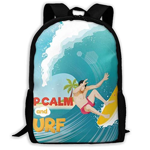 Lawenp California Surfing Board Surf Wave Impermeable Adulto Unisex Mochila Informe de Surf, Bodyboard