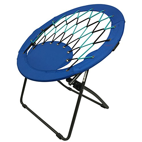 CAMPZIO Bungee Dish Chair Round Bungee Chair Folding Comfortable Lightweight Portable Indoor Outdoor (Black)