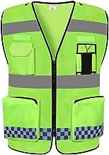 Chalecos reflectantes Reflectante chaleco de seguridad, de protección de advertencia chaleco ligero y transpirable Multi-bolsillo Trajes de Noche de seguridad chaleco de alta visibilidad ropa de traba